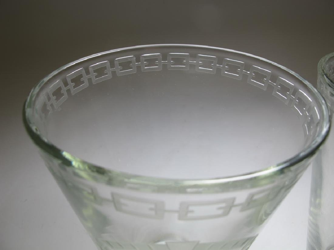 Pair of Masonic engraved glass vases - 3