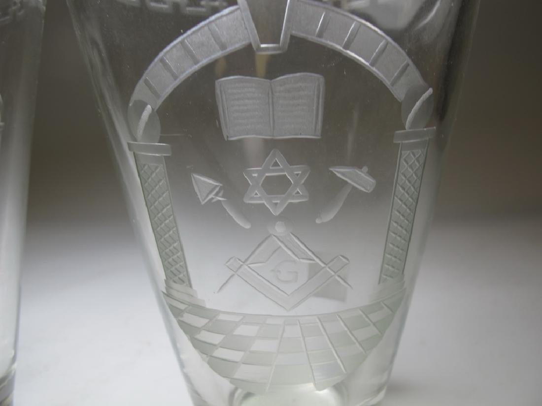 Pair of Masonic engraved glass vases - 5