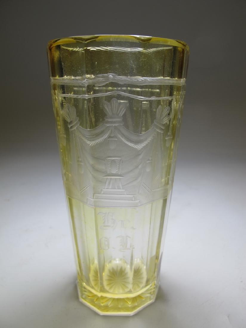 Antique Bohemian amber tall glass