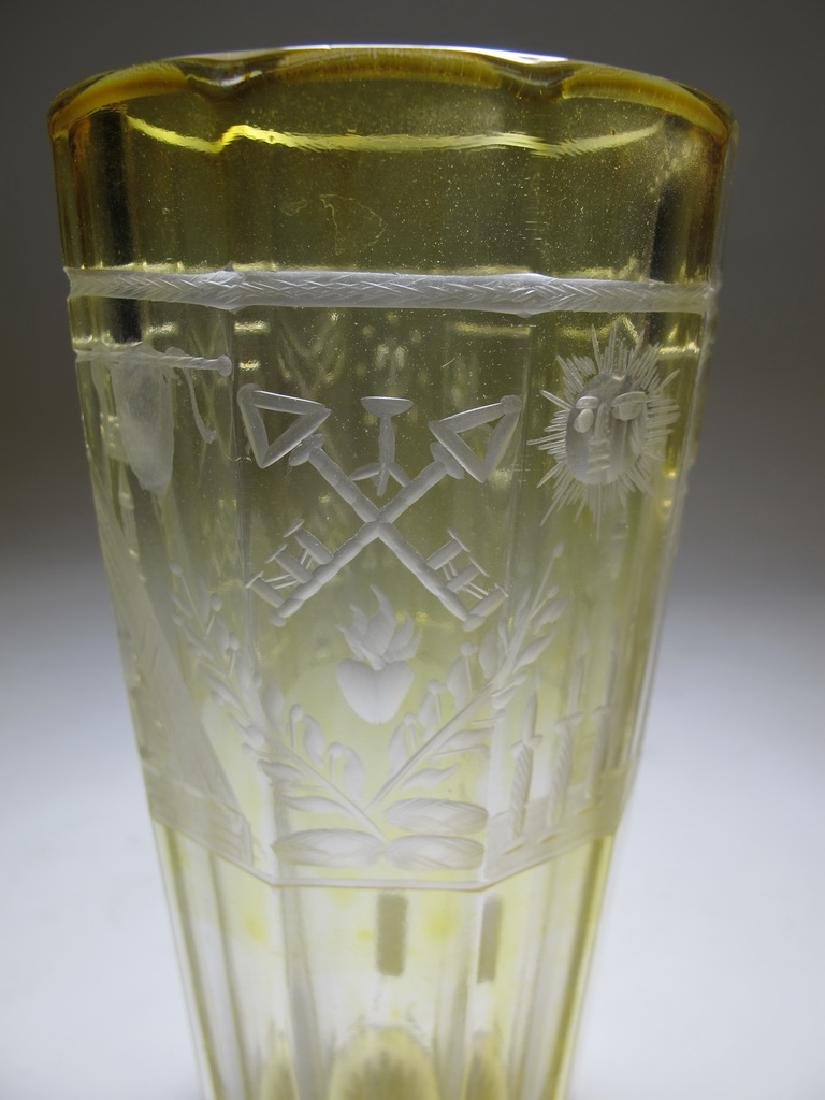 Antique Bohemian amber tall glass - 5
