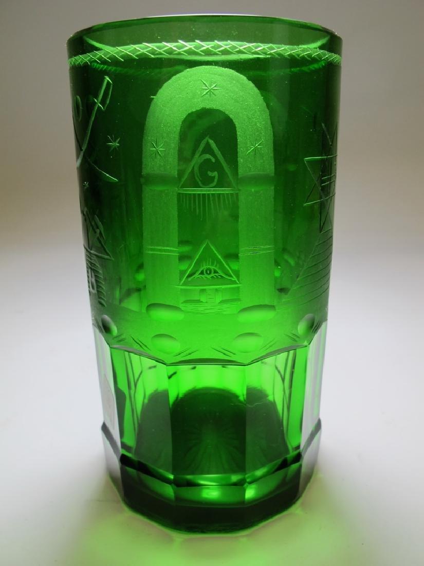 Antique Masonic emerald green glass vase