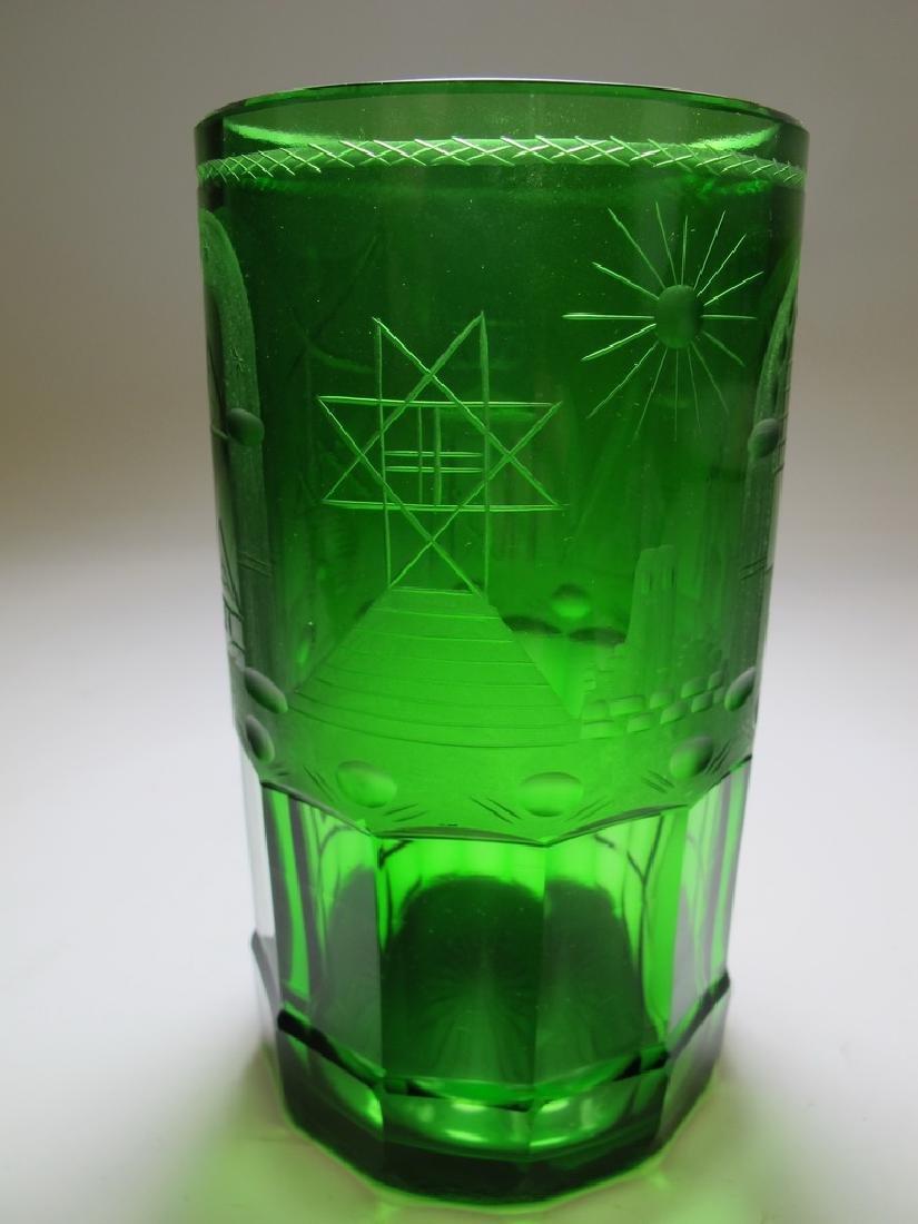Antique Masonic emerald green glass vase - 2