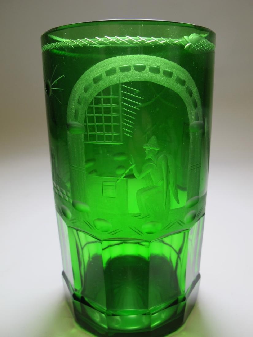 Antique Masonic emerald green glass vase - 3
