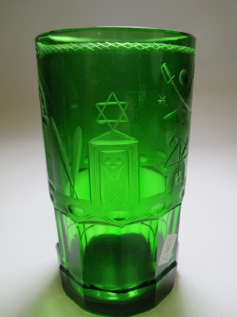Antique Masonic emerald green glass vase - 4