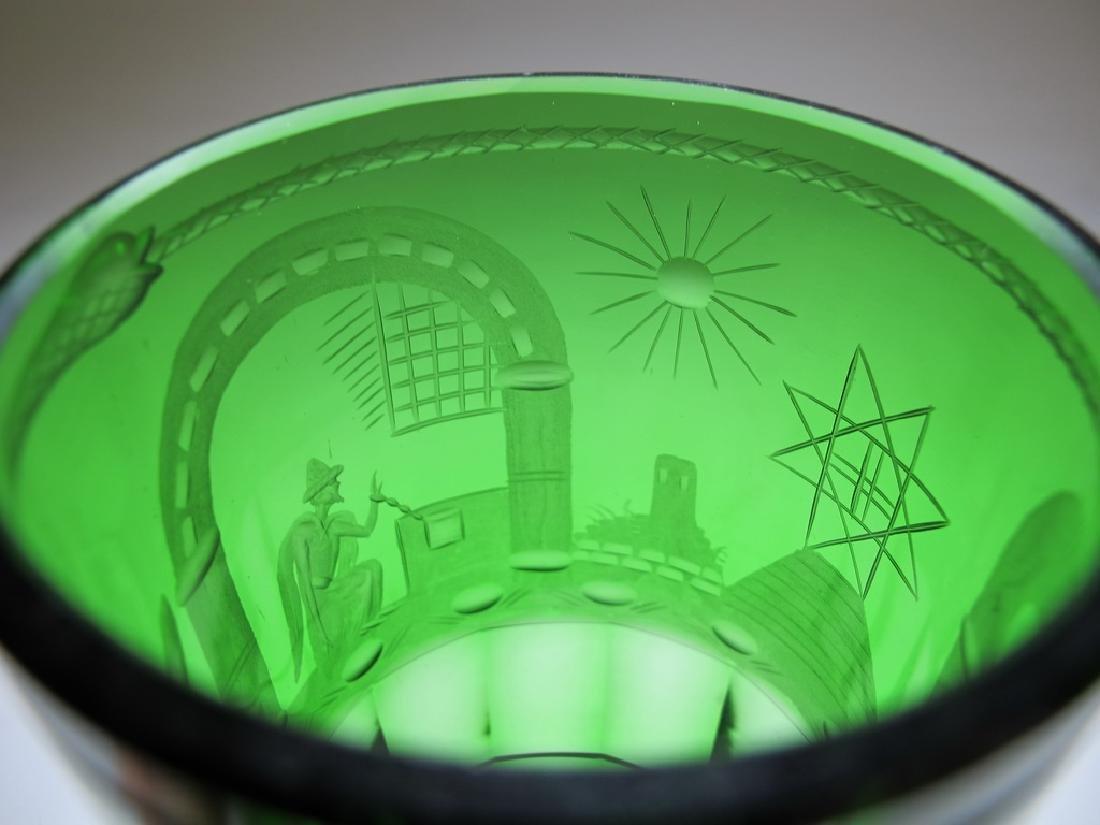 Antique Masonic emerald green glass vase - 5