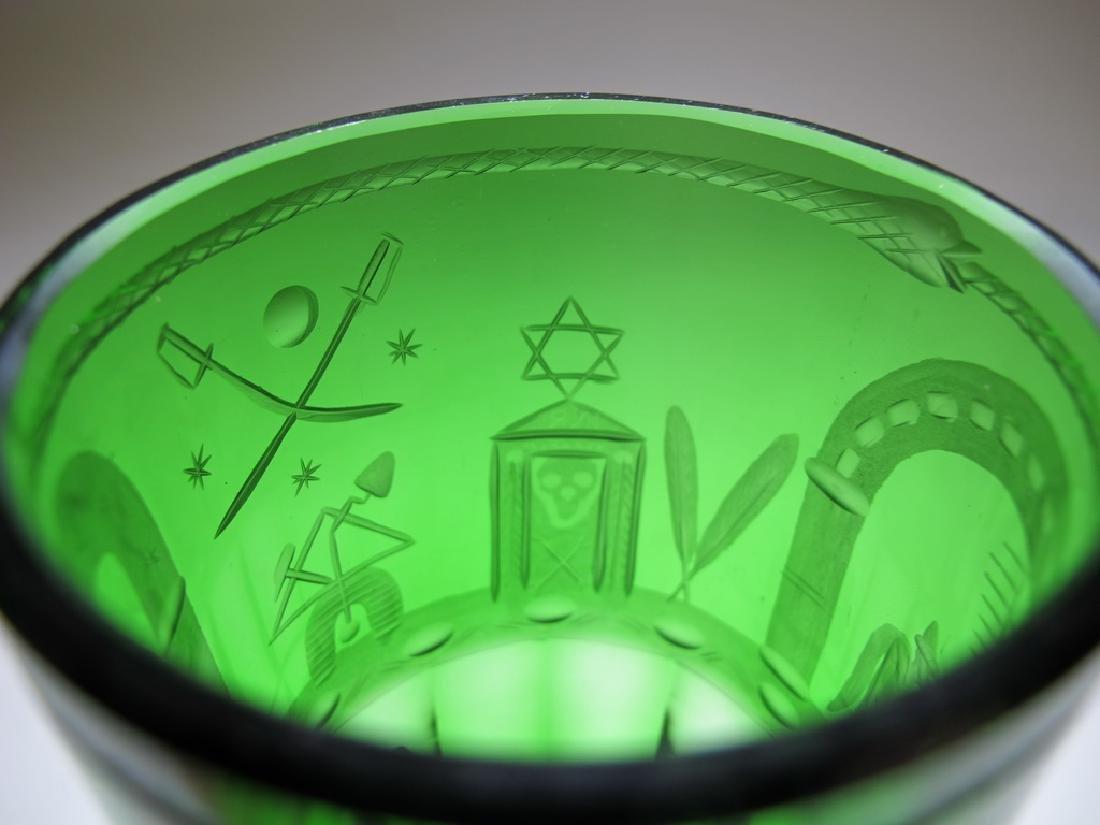 Antique Masonic emerald green glass vase - 6