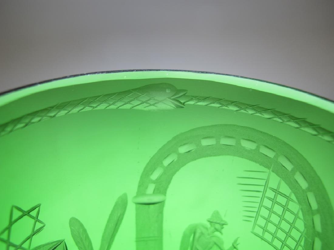 Antique Masonic emerald green glass vase - 7