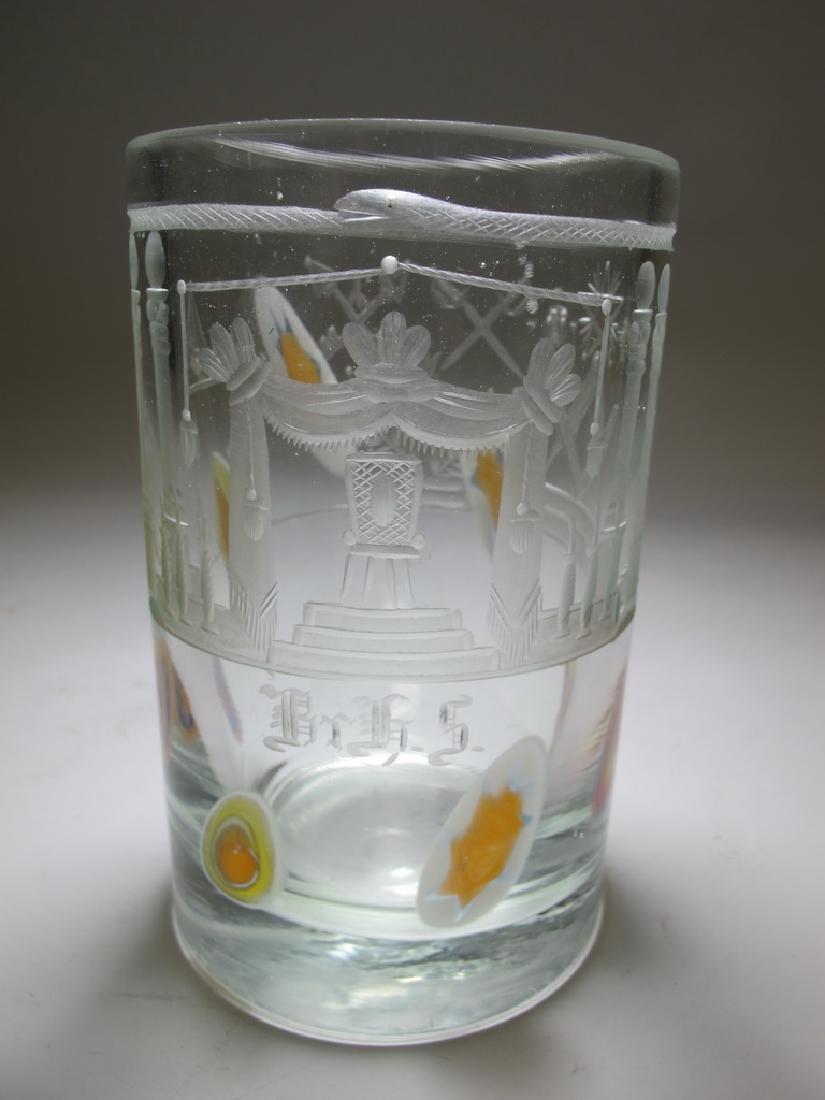 Antique masonic Bohemian peacock glass vase