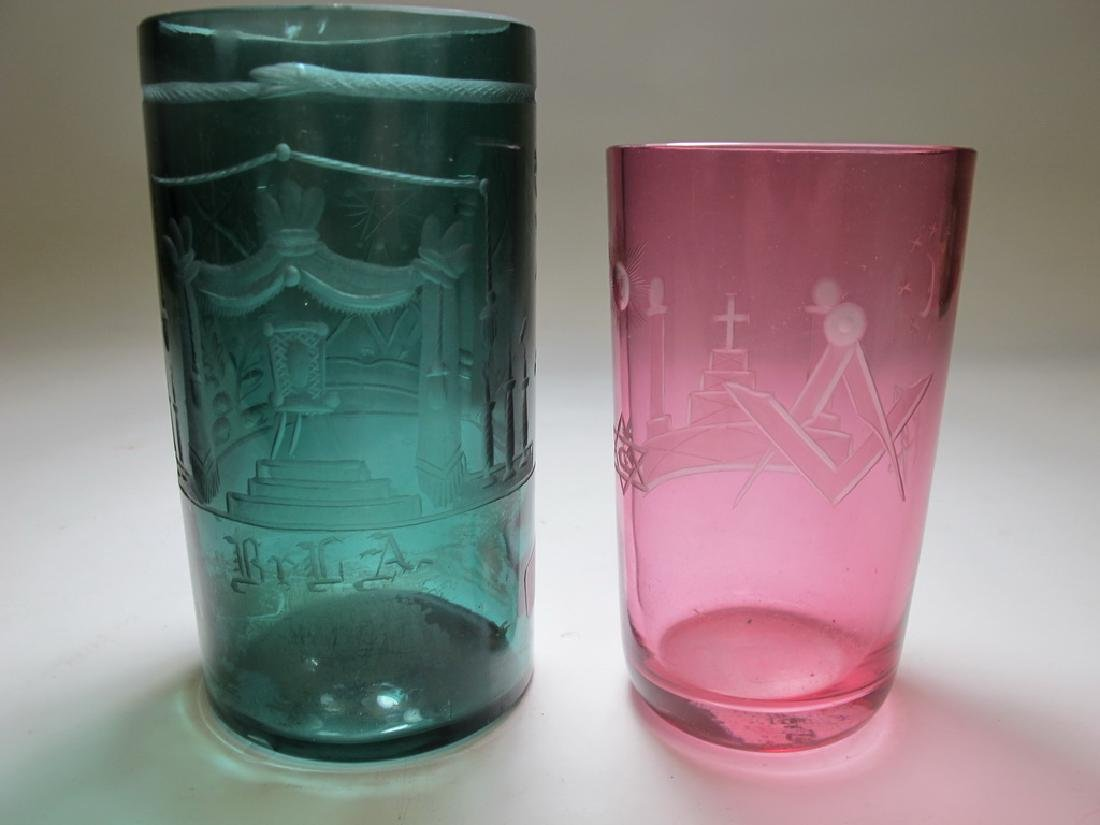 Lot of two vintage Masonic color tumblers