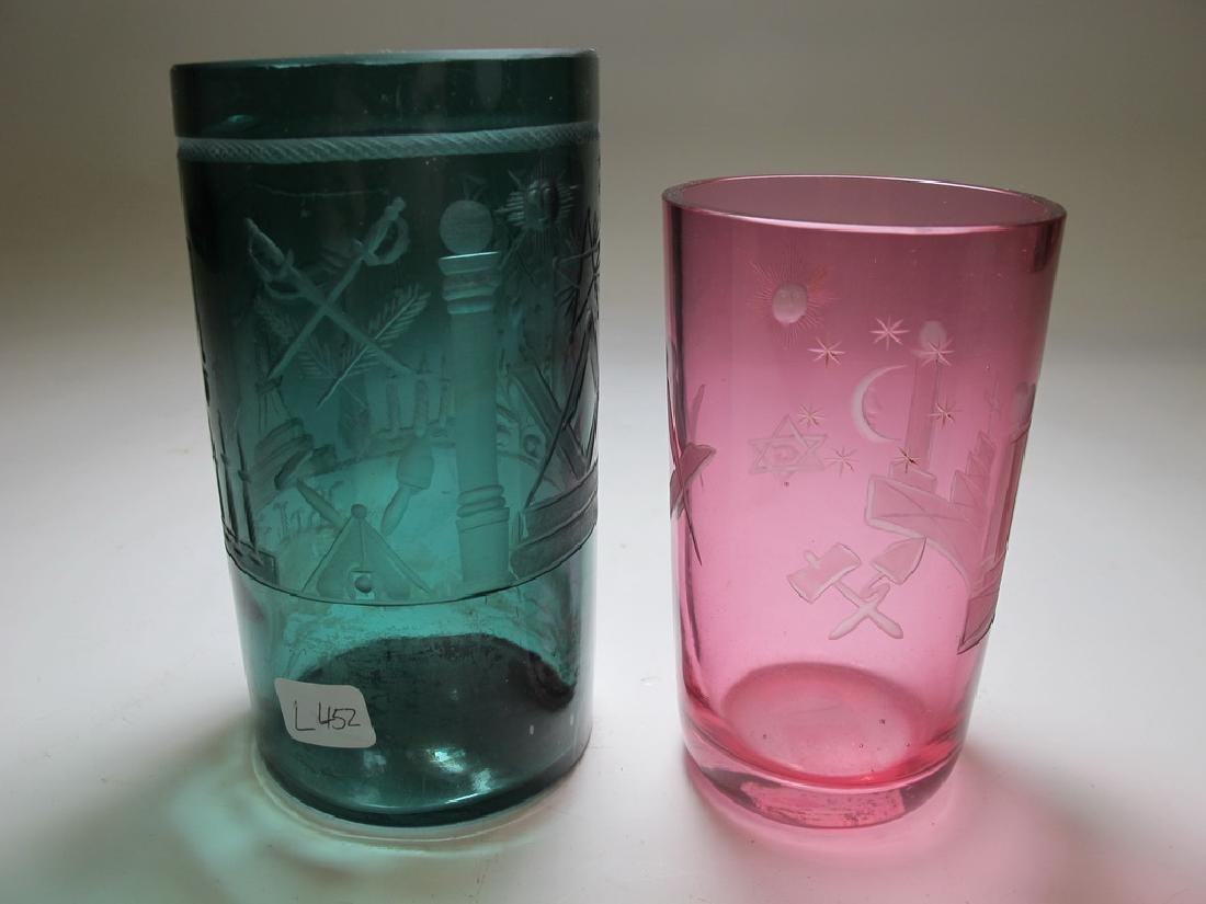 Lot of two vintage Masonic color tumblers - 4