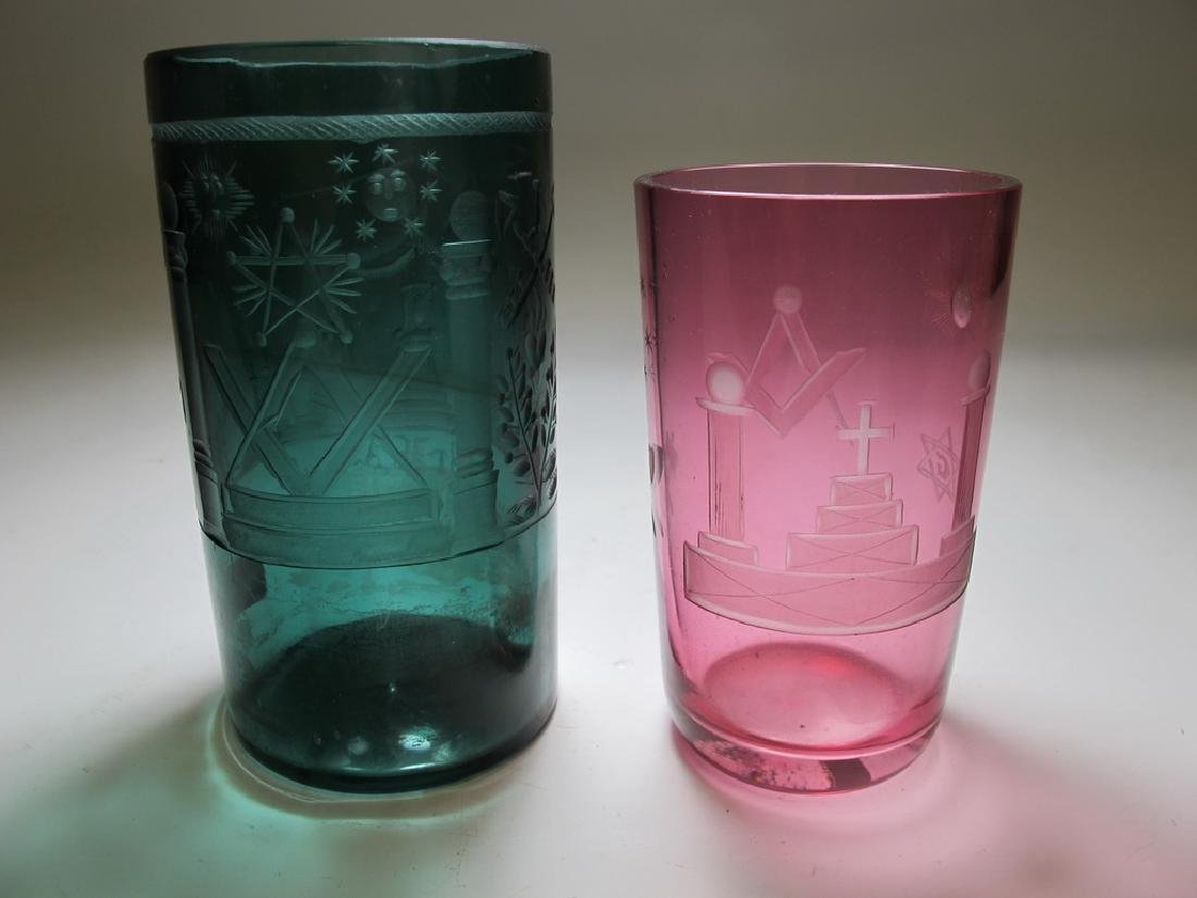 Lot of two vintage Masonic color tumblers - 5