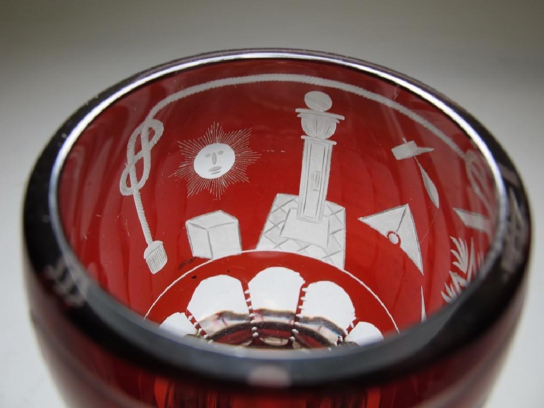 Antique Masonic Bohemian ruby glass beaker - 2