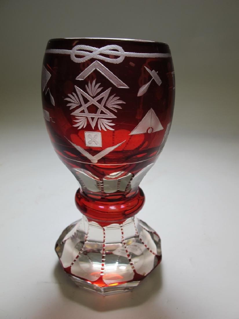 Antique Masonic Bohemian ruby glass beaker - 3