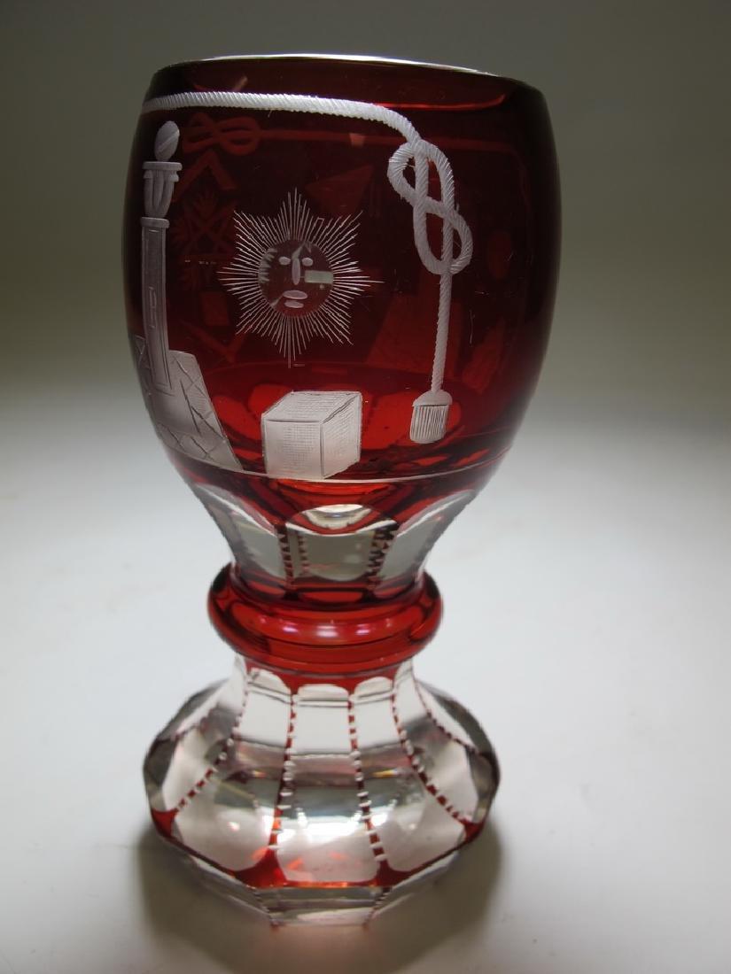 Antique Masonic Bohemian ruby glass beaker - 4