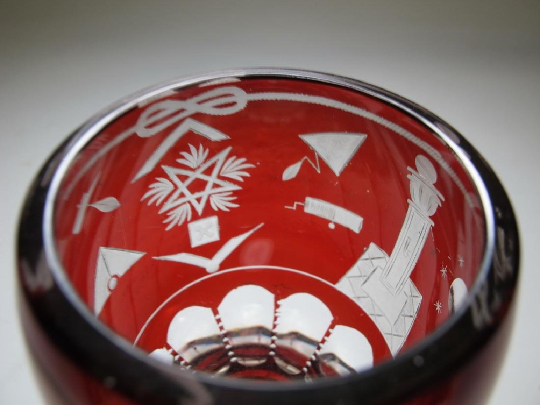 Antique Masonic Bohemian ruby glass beaker - 5