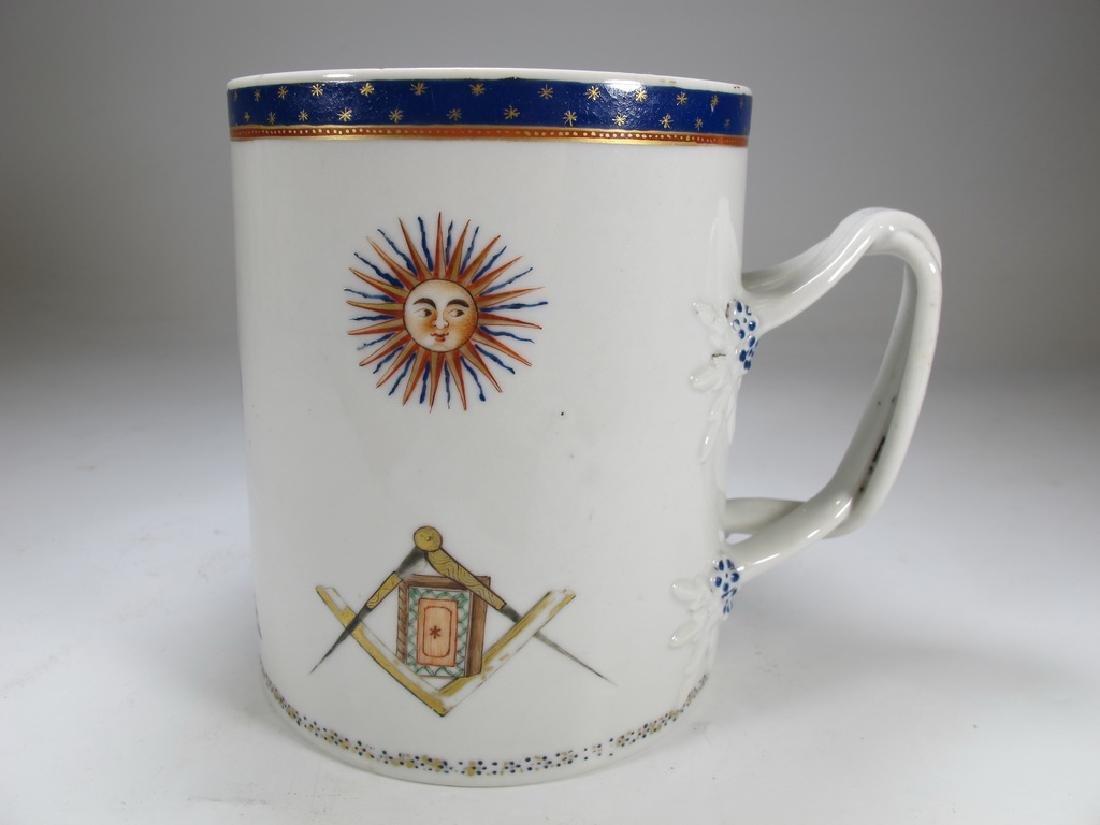 Antique English Masonic big porcelain mug