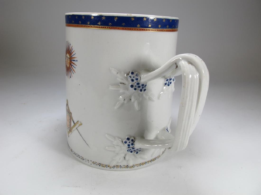 Antique English Masonic big porcelain mug - 2
