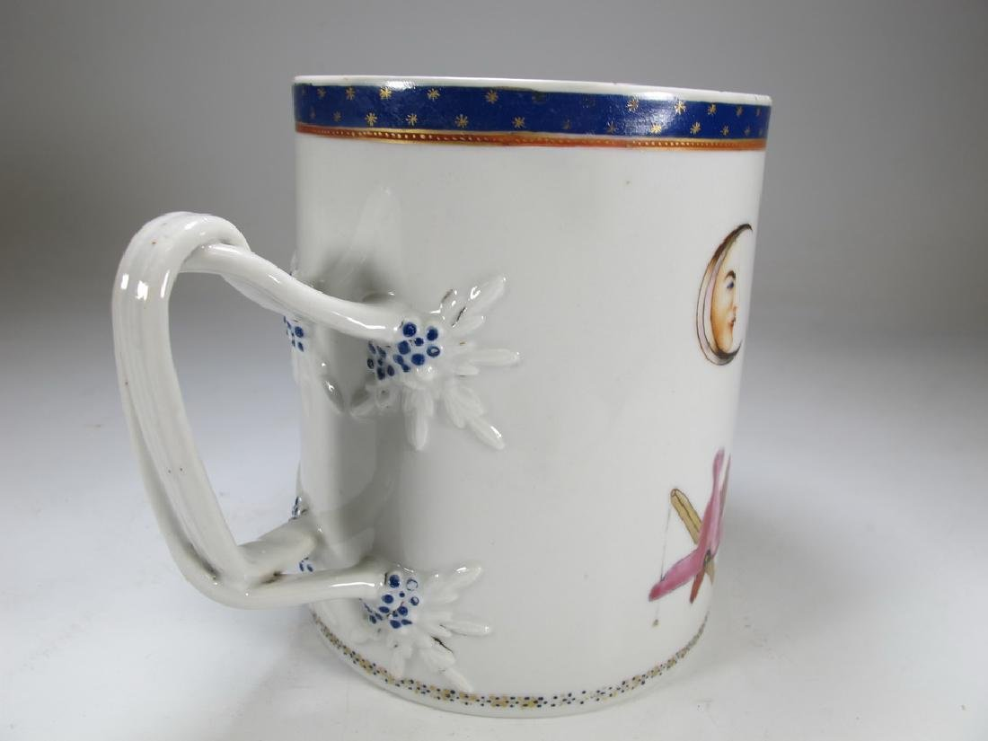 Antique English Masonic big porcelain mug - 3