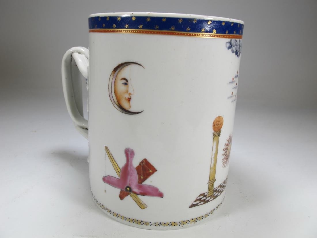 Antique English Masonic big porcelain mug - 4