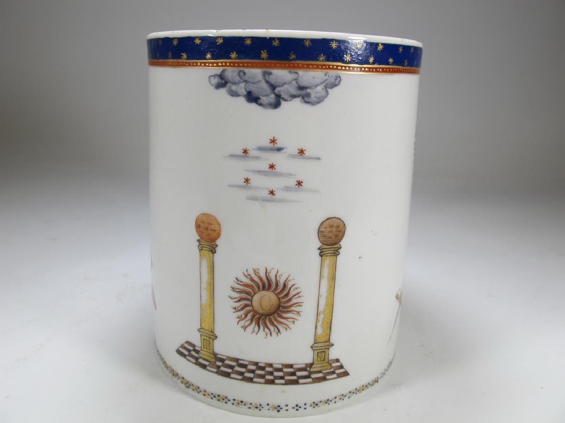 Antique English Masonic big porcelain mug - 5