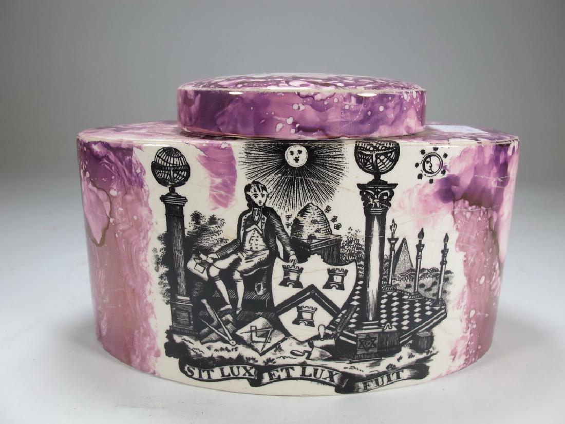 Antique Masonic pink Lustre tea caddy