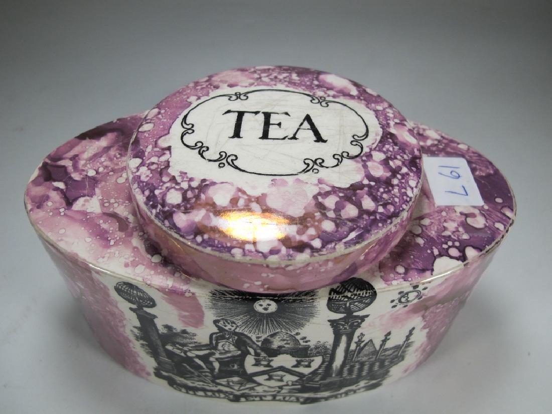Antique Masonic pink Lustre tea caddy - 2
