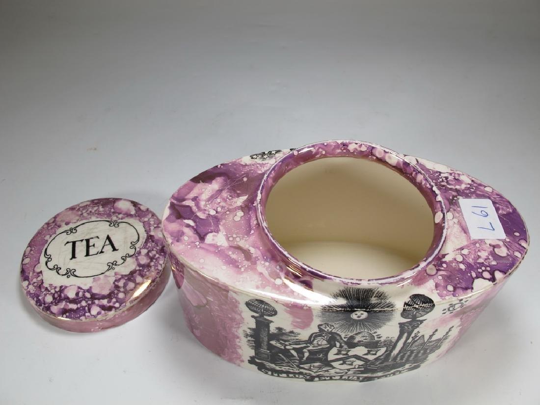Antique Masonic pink Lustre tea caddy - 3