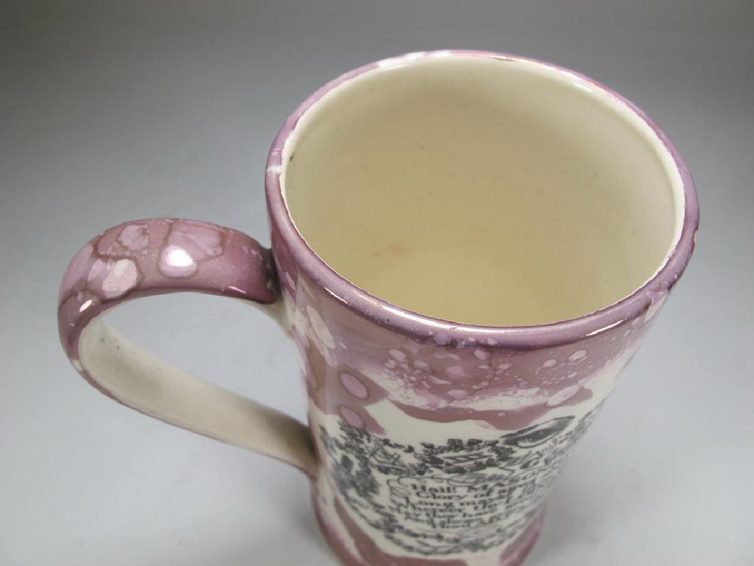 Antique English Masonic pink lustre tankard - 5