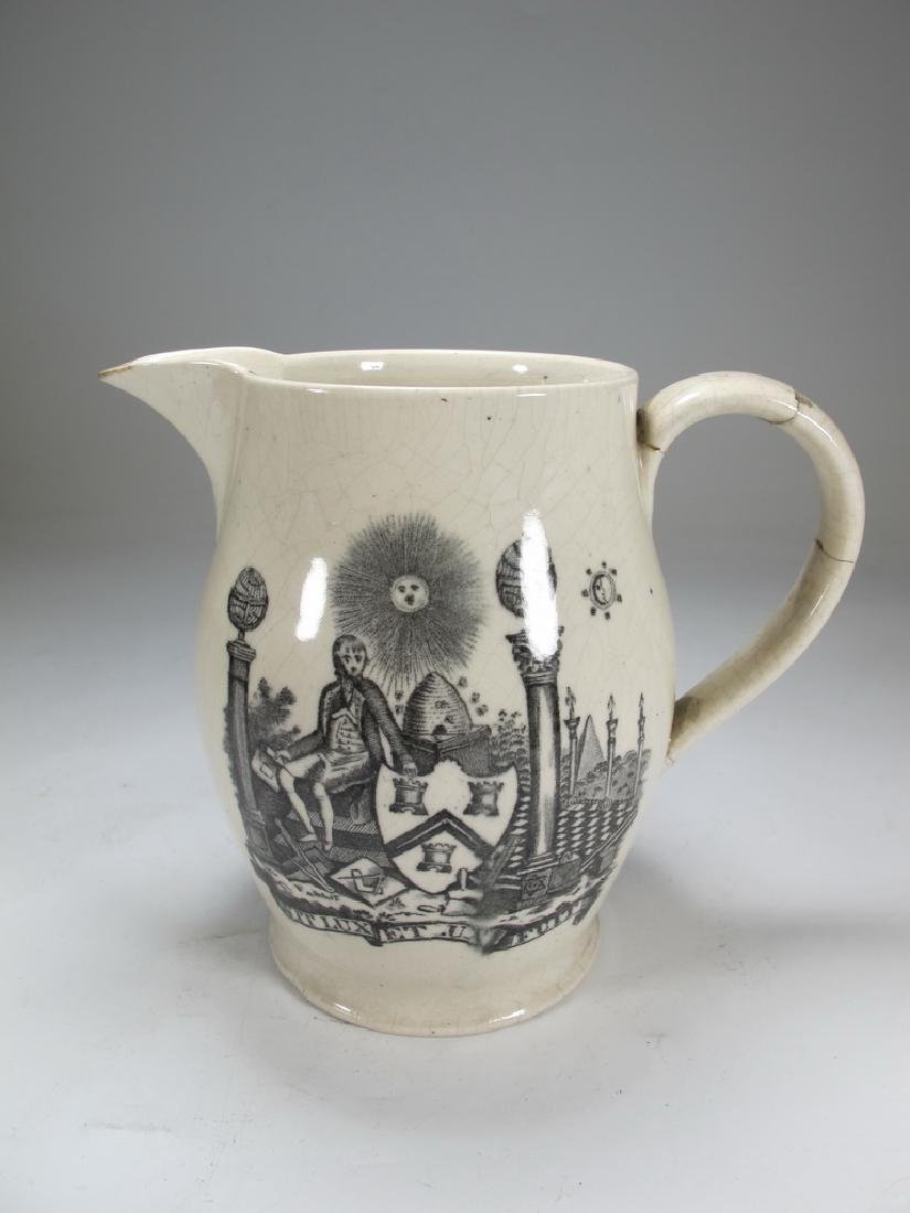 Antique English Masonic pottery cream ware pitcher