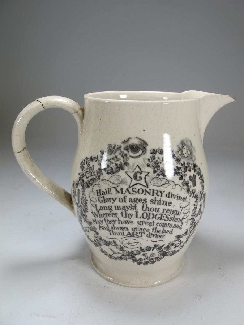 Antique English Masonic pottery cream ware pitcher - 3