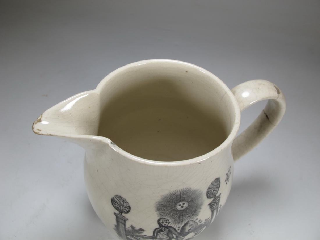 Antique English Masonic pottery cream ware pitcher - 5