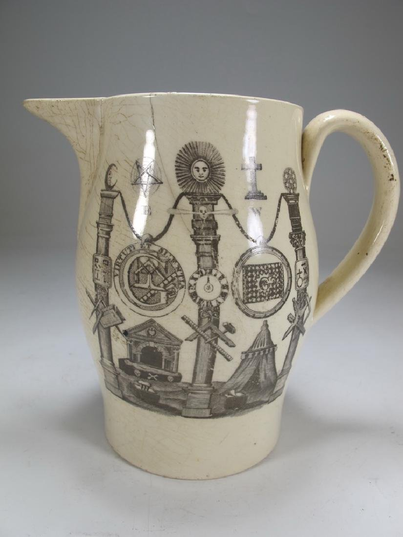 Antique English Masonic cream ware pitcher