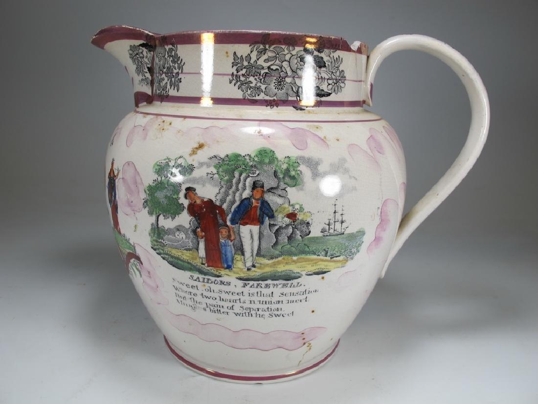Antique English Masonic Sunderland luster jug