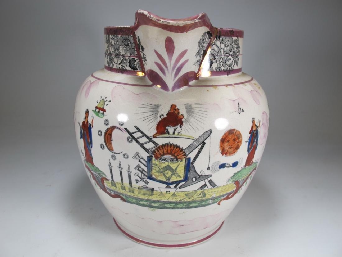 Antique English Masonic Sunderland luster jug - 3