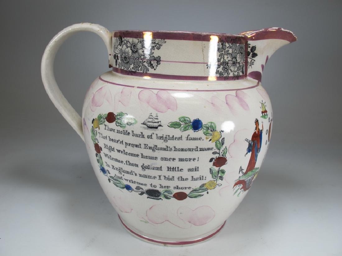 Antique English Masonic Sunderland luster jug - 4