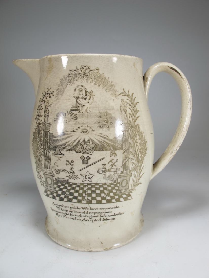 Early 19th C English Masonic pottery pitcher