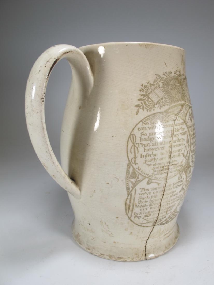 Early 19th C English Masonic pottery pitcher - 4