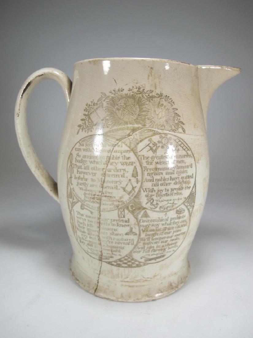 Early 19th C English Masonic pottery pitcher - 5
