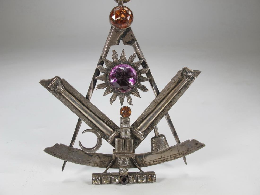 Antique large Masonic silver & glass compass jewel