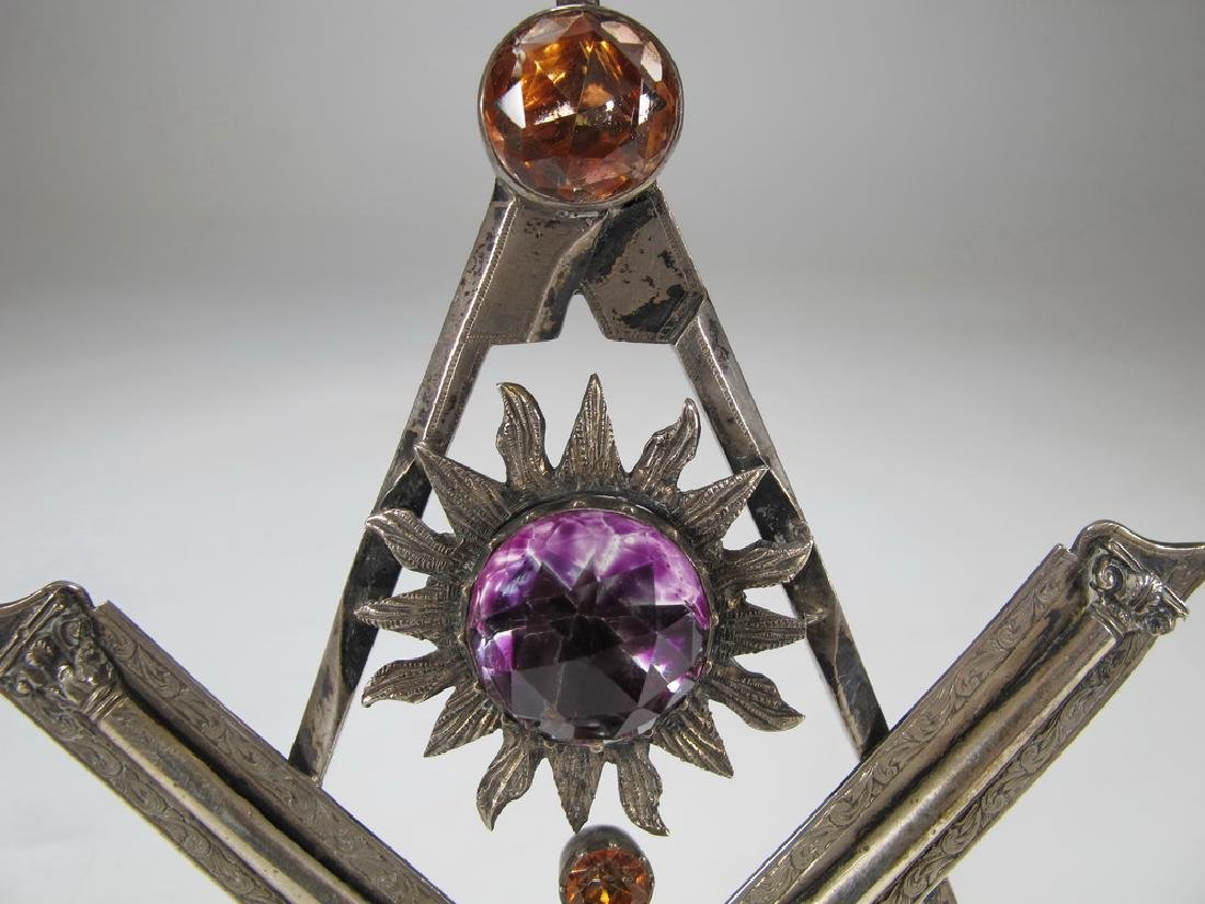 Antique large Masonic silver & glass compass jewel - 2