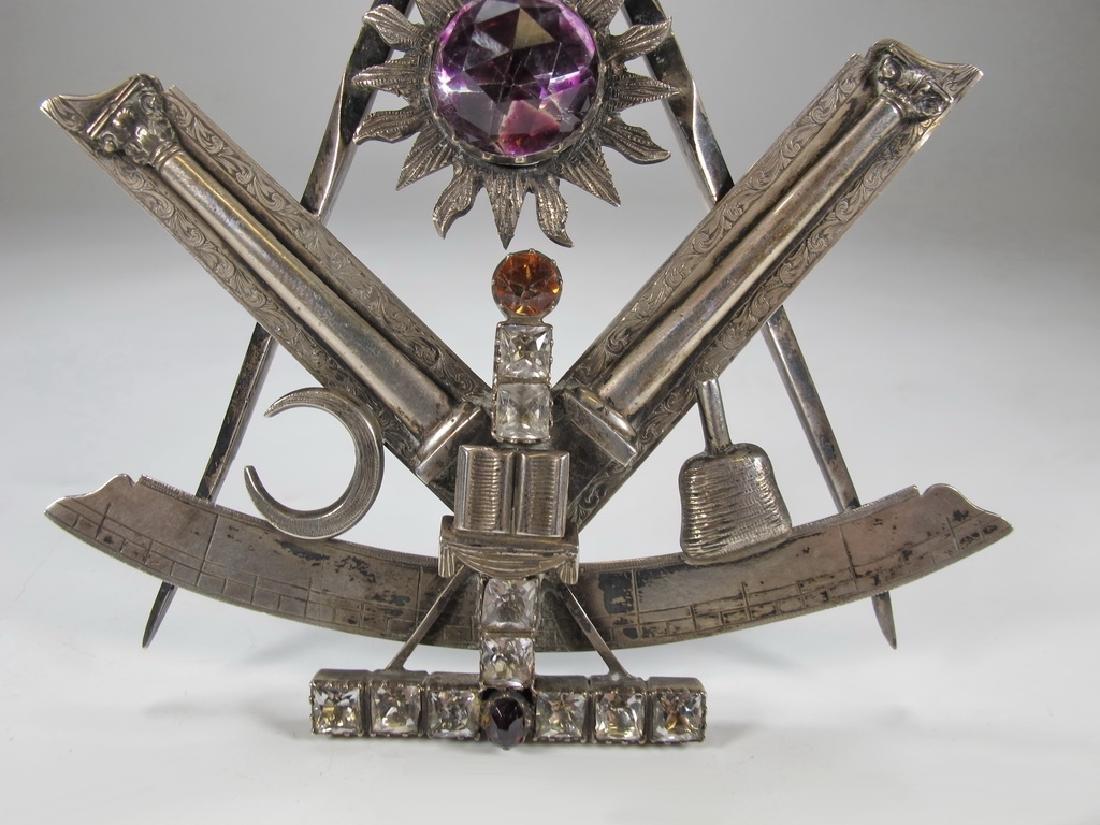Antique large Masonic silver & glass compass jewel - 3