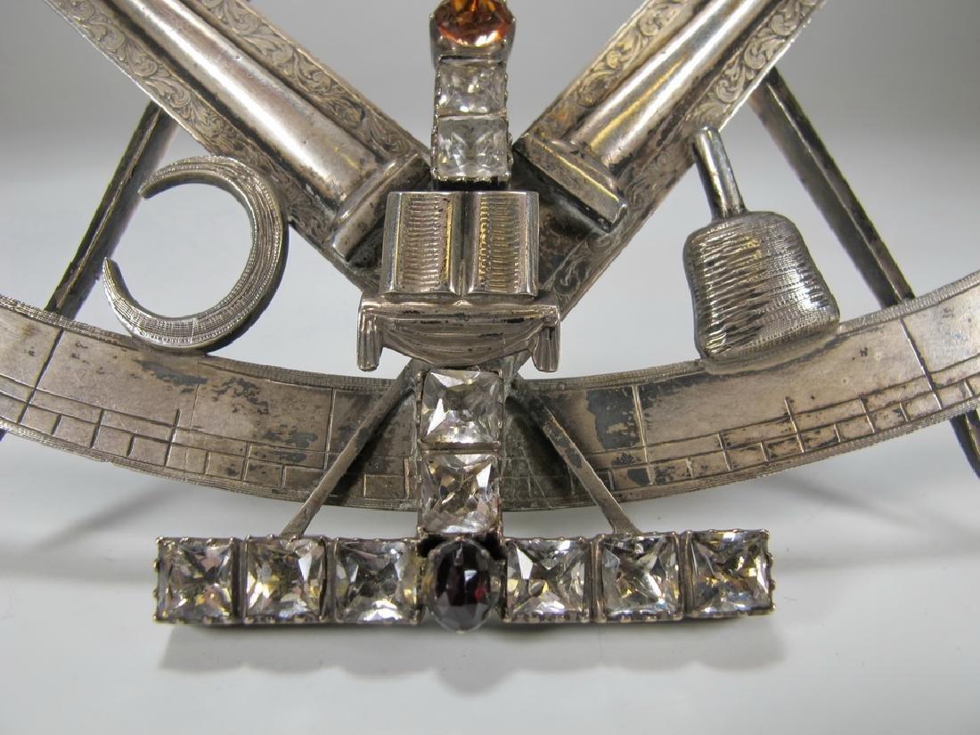 Antique large Masonic silver & glass compass jewel - 4