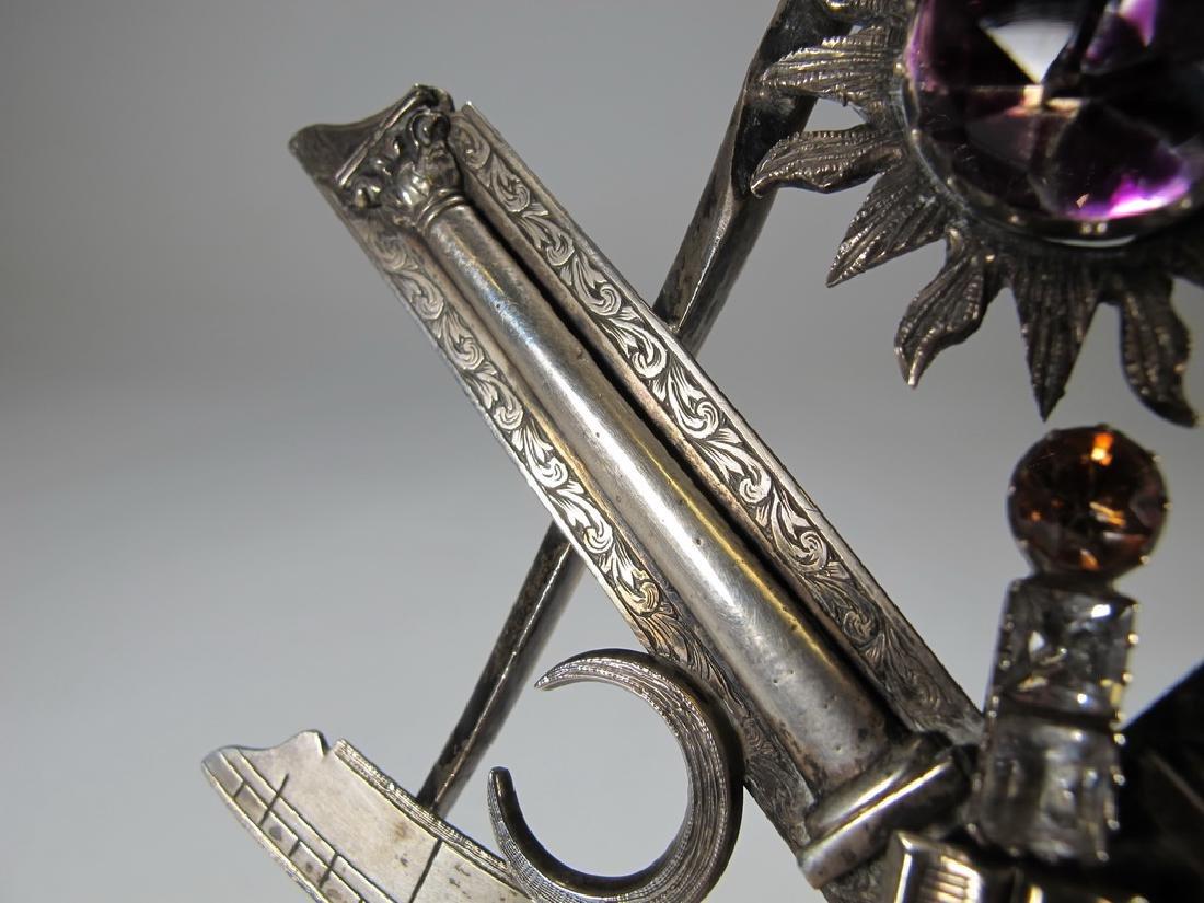 Antique large Masonic silver & glass compass jewel - 7