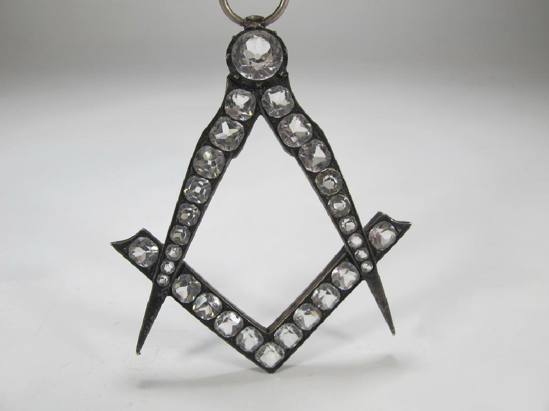 Antique Masonic metal & glass collar jewel