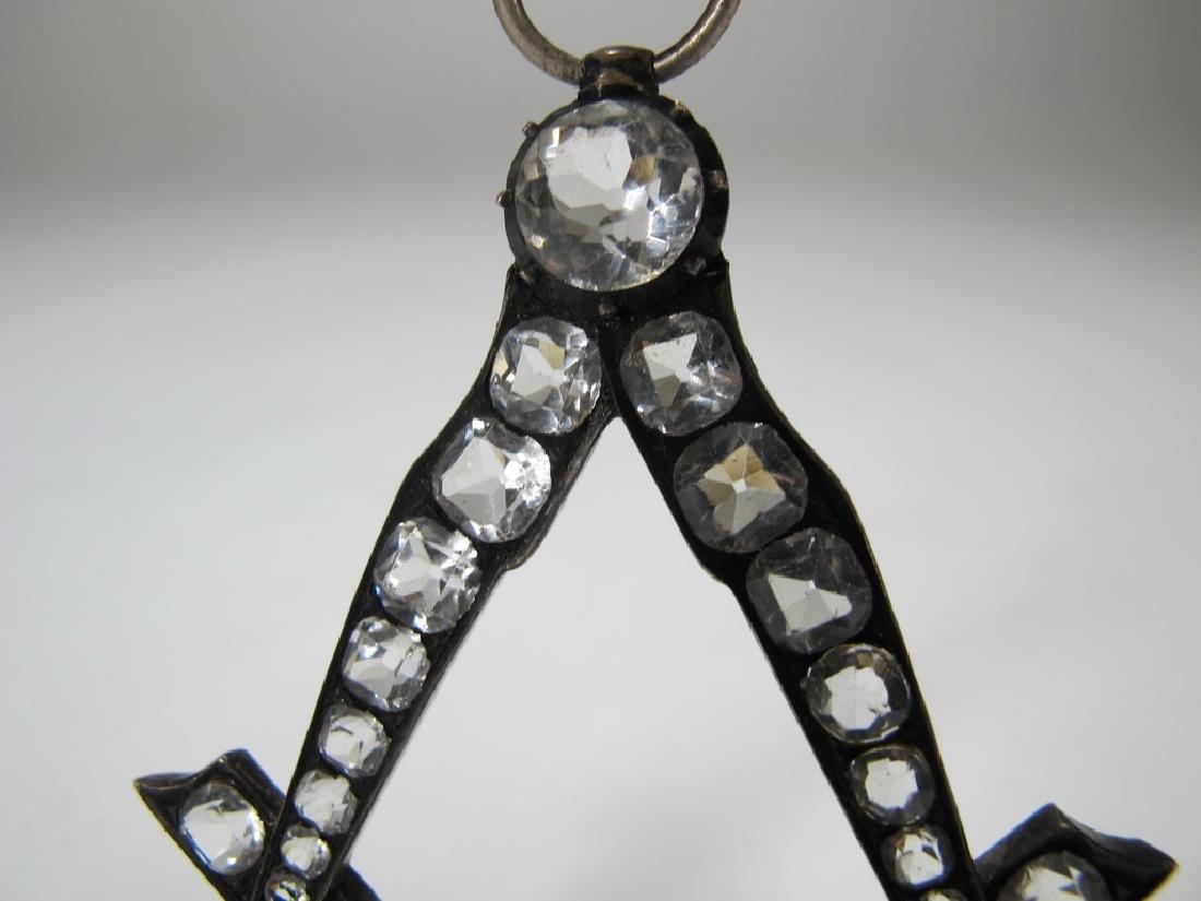 Antique Masonic metal & glass collar jewel - 2
