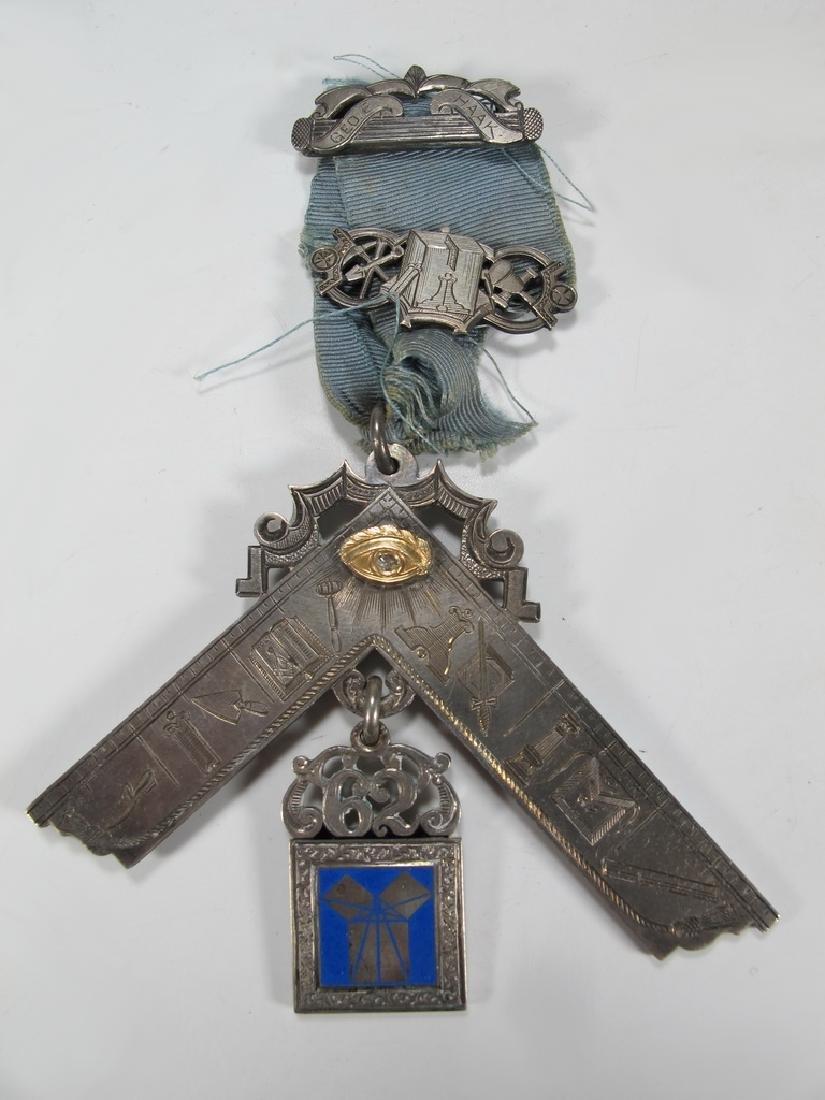 Antique Masonic 900 silver Past Master breast jewel