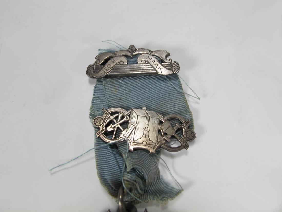 Antique Masonic 900 silver Past Master breast jewel - 2