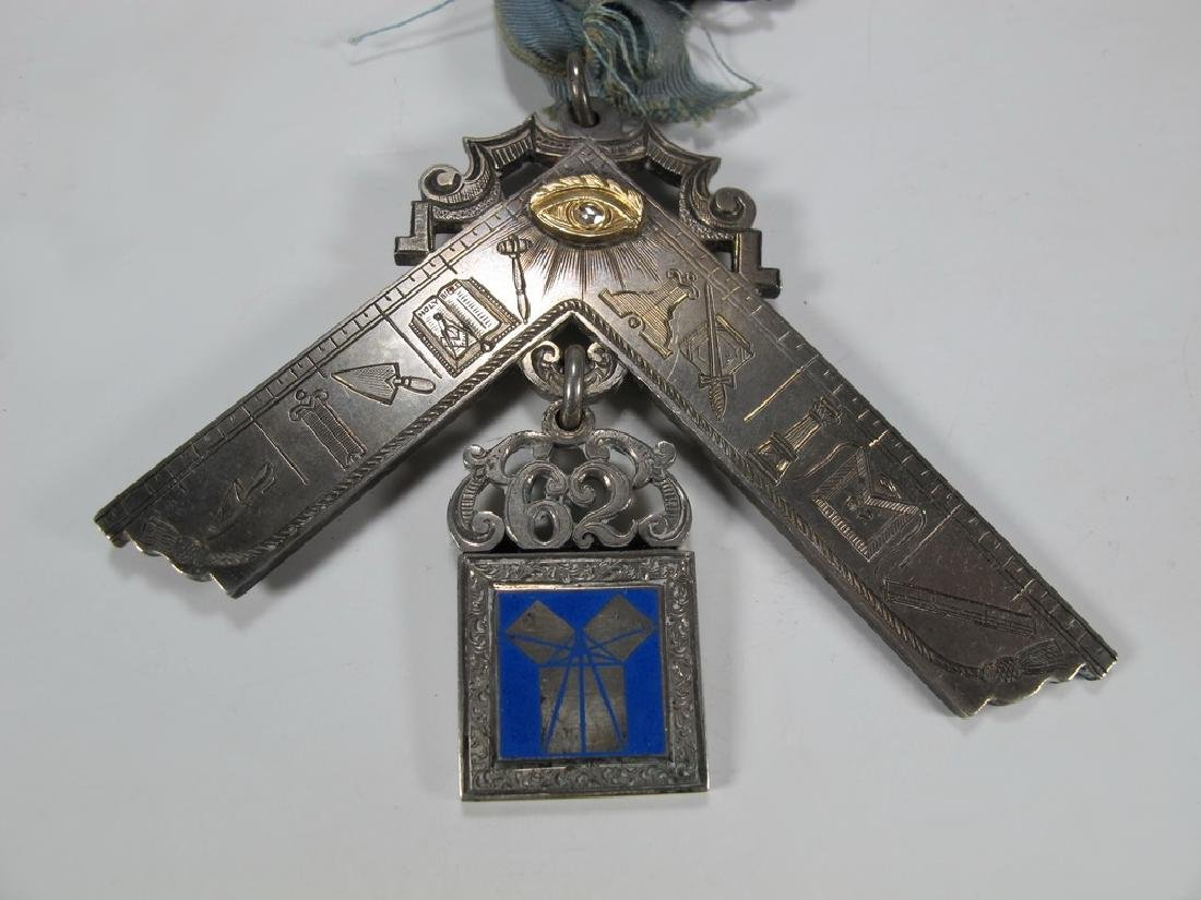 Antique Masonic 900 silver Past Master breast jewel - 3