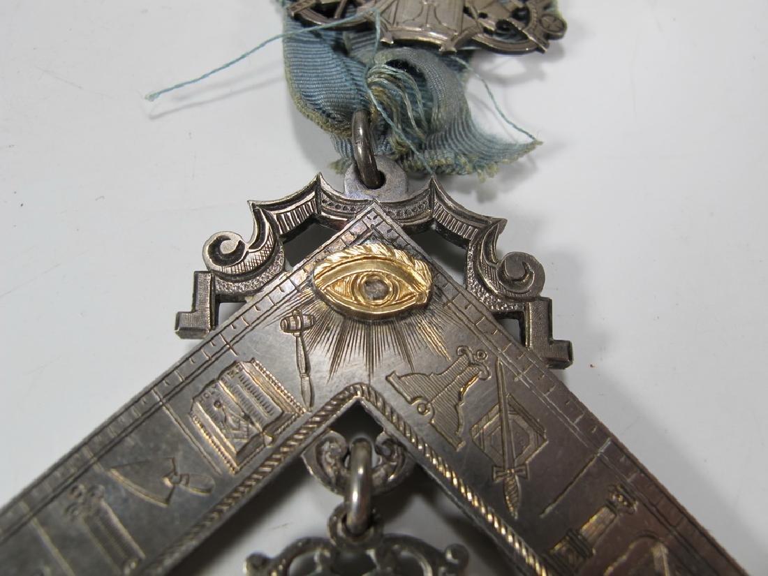 Antique Masonic 900 silver Past Master breast jewel - 4