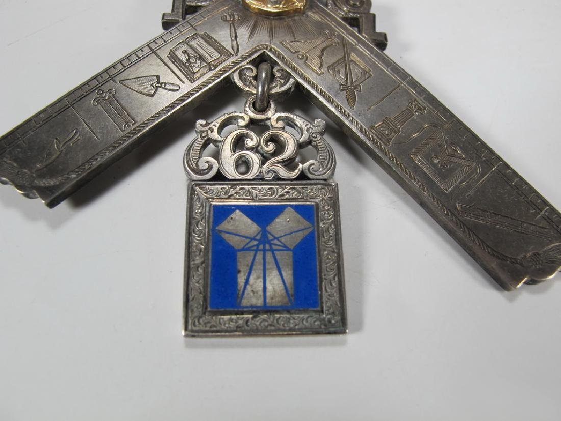 Antique Masonic 900 silver Past Master breast jewel - 5
